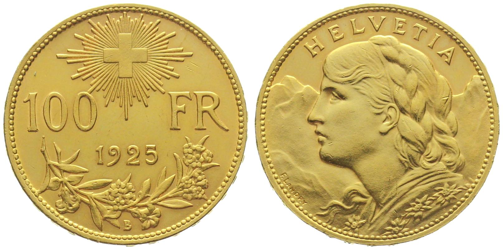 100 Franken Vreneli Goldvreneli